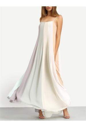 Yok Yok Rengarenk İnce Askılı Uzun Elbise
