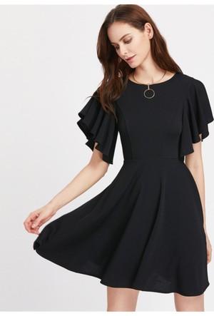 Yok Yok Siyah Kolu Fıffırlı Prenses Elbise