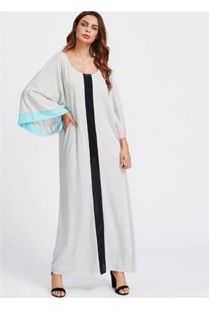 Yok Yok Gri Uzun Kolları Renkli Tasarım Elbise