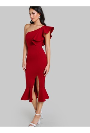 Yok Yok Kırmızı Tek Omuz Fırfır Tasarım Elbise