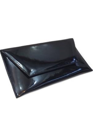 Kf Bayan Abiye Çanta Zarf Model Siyah Rugan