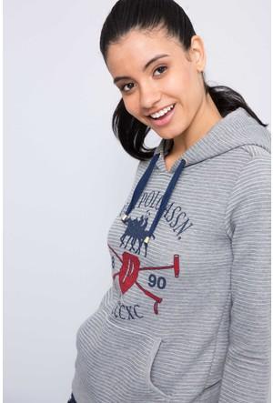 U.S. Polo Assn. Kadın Hamar Sweatshirt Gri Melanj
