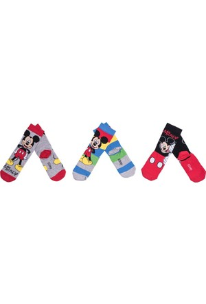 Mickey Mouse MC12089 Çocuk 3'lü Soket Çorap