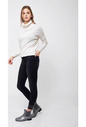 Eka Paçası Droplu Yüksek Bel Dar Paça Likralı Jean