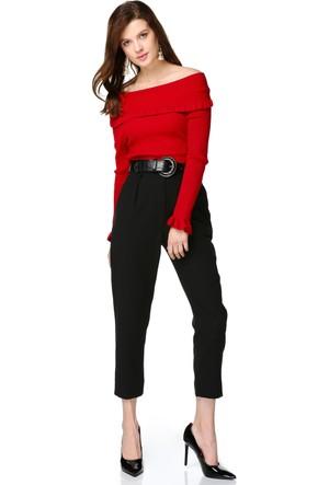 Miss Lusi 7412052 İnce Fitilli Kaşkorse Madonna Yaka Fırfırlı Bluz