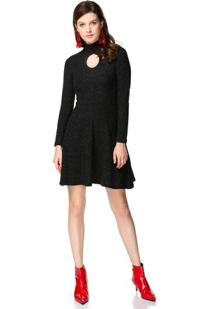 Miss Lusi 7392351 Yarım Balıkçı Pencereli Yaka Eteği Volanlı Elbise