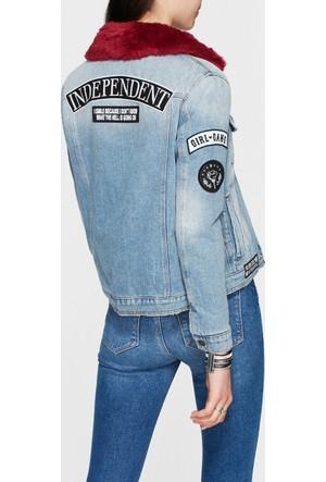 Mavi Katy Suni Kürklü Yamalı Jean Ceket