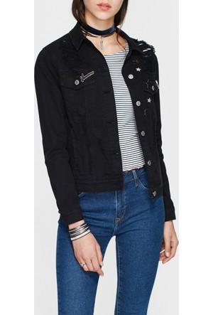 Mavi Katy Yırtıklı Siyah Jean Ceket