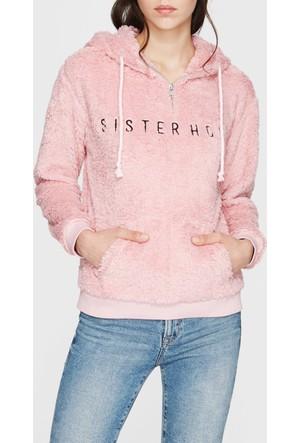 Mavi Sisterhood Nakışlı Peluş Sweatshirt
