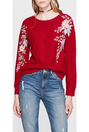 Mavi Nakışlı Kırmızı Sweatshirt