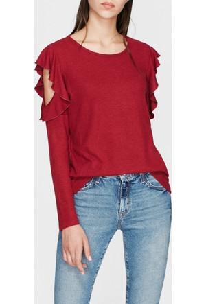 Mavi Fırfırlı Kırmızı Sweatshirt