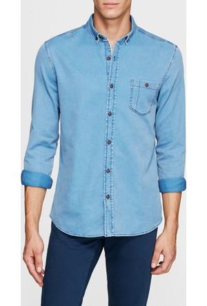 Mavi Açık İndigo Tek Cep Gömlek