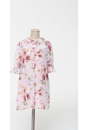 Goose Kız Çocuk Pak Çiçekli Şifon Elbise