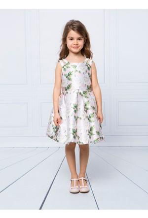 Goose Kız Çocuk Omuzu Askılı Güllü Plise Elbise