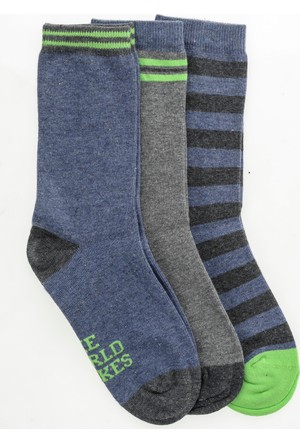 Pixter&Bro Trend Happy Lessonboy Çocuk Üçlü Soket Çorap Set