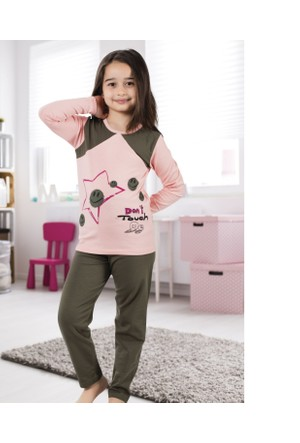 Serra Star Kız Çocuk Pijama Takımı Haki
