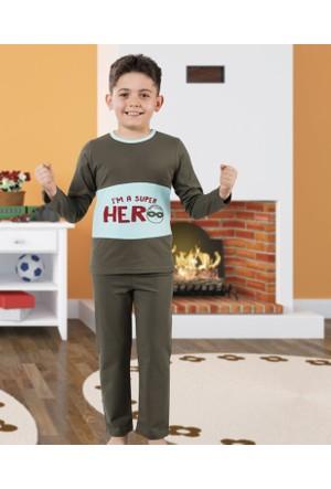 Serra Star Erkek Çocuk Pijama Takımı Haki