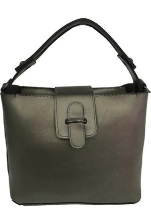 Çanta Stilim Gri Renk Suni Deri 2394-G El Ve Çapraz Bayan Çantası