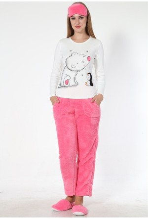 Sendy Ayıcık Ve Penguen Pembe Bayan Polar Pijama Takımı