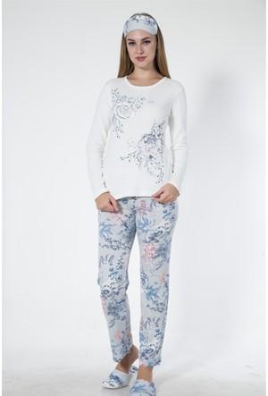 Sendy Bahar Dalı Pamuklu Mavi Pijama Takımı