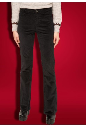DeFacto Kadın Kadife Bot Paça Yüksek Bel Pantolon Siyah