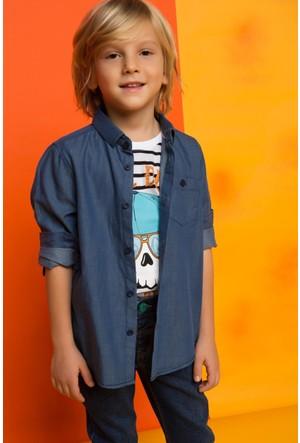 DeFacto Erkek Çocuk Mini Me Kol Katlamalı Gömlek Mavi