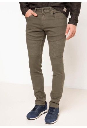 DeFacto Erkek Carlo Skinny Fit Denim Pantolon Yeşil