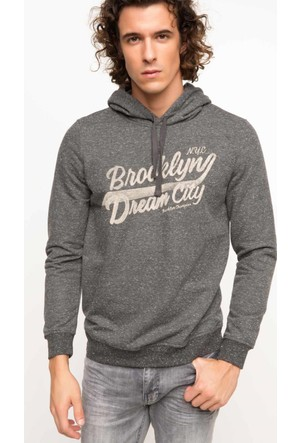 DeFacto Erkek Slim Fit Baskılı Sweatshirt Antrasit