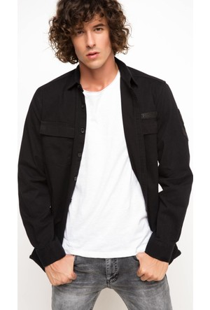 DeFacto Erkek Rahat Kalıp Çift Cep Gömlek Siyah