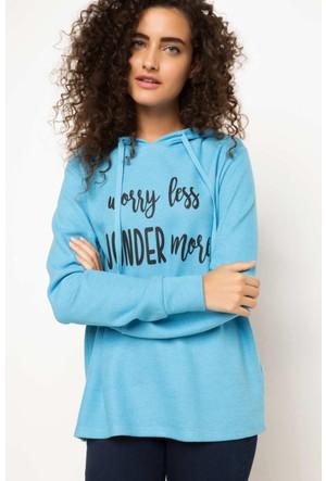 DeFacto Kadın Kapşonlu Baskılı Sweatshirt Mavi
