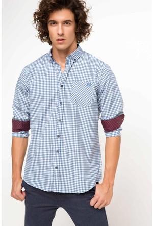DeFacto Erkek Rahat Kalıp Tek Cep Gömlek Mavi