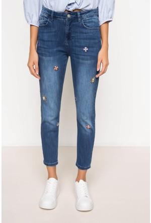 DeFacto Kadın Taş Detaylı Denim Pantolon Mavi