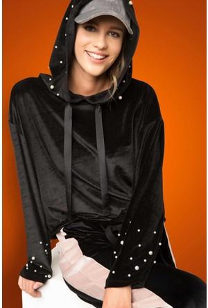 DeFacto Kadın Kadife Kapşonlu Sweatshirt Siyah