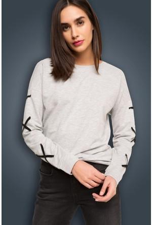 DeFacto Kadın Kadife Detaylı Sweatshirt Gri