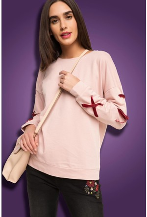 DeFacto Kadın Kadife Detaylı Sweatshirt Pembe