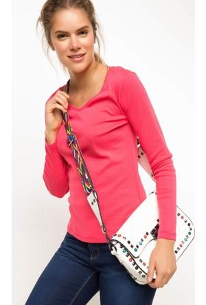 DeFacto Kadın V Yaka Basic Sweatshirt Pembe