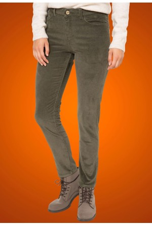DeFacto Kadın Kadife Skinny Pantolon Haki