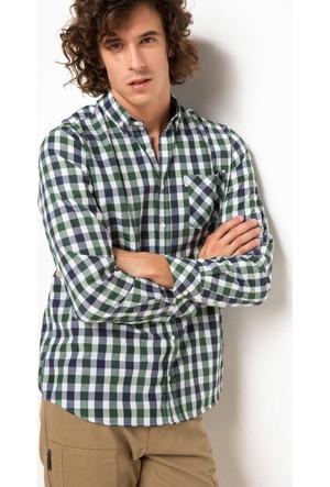 DeFacto Erkek Kareli Tek Cep Gömlek Haki