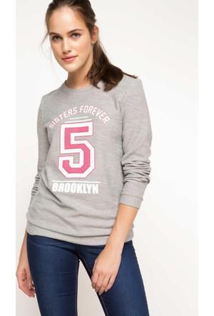 DeFacto Kadın Baskılı Sweatshirt Gri