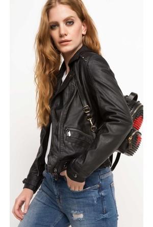 DeFacto Kadın Suni Deri Ceket Siyah