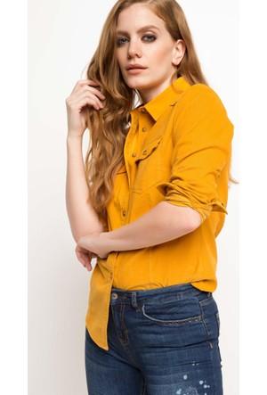 DeFacto Kadın Çift Cep Gömlek Sarı