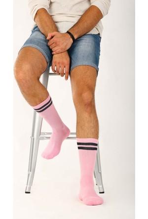 Socks Academy Siyah Çizgili Pembe Unısex Çorap