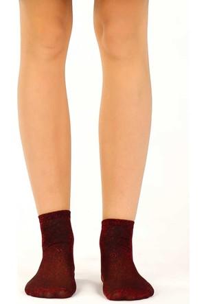 Socks Academy Kırmızı Simli Kadın Çorap