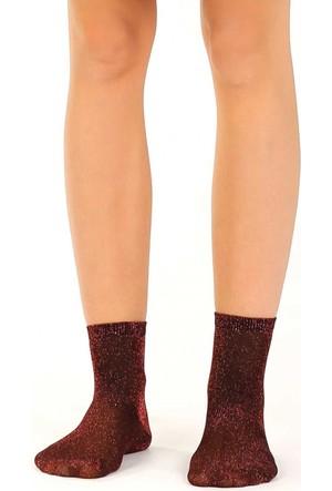 Socks Academy Turuncu Simli Kadın Çorap