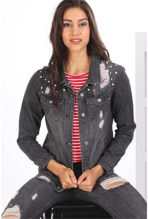 Zdn Jeans Kadın Denim Boncuklu Ceket M11