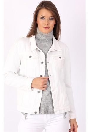 Zdn Jeans Kadın Denim Beyaz Boyfriend Ceket M11