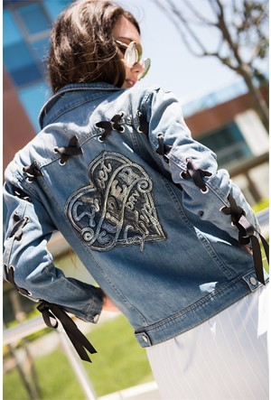 Zdn Jeans Kadın Denim Kuş Gözü Ceket M11