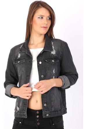 Zdn Jeans Kadın Wish Baskılı Siyah Denim Ceket M11
