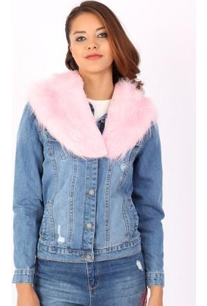 Zdn Jeans Kadın Pembe Peluş Kürk Mavi Denim Ceket M11