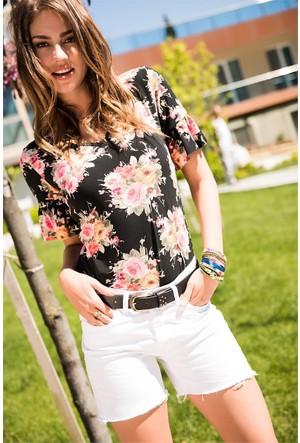 Zdn Jeans Kadın Düşük Bel Denim Beyaz Şort W-S-031